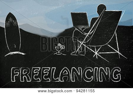 Freelancing: Entrepreneur Or Employee Working Remotely With His Laptop On The Beach