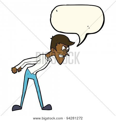 cartoon angry man with speech bubble