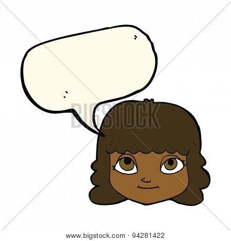 cartoon happy female face with speech bubble