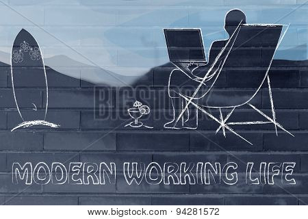 Modern Working Life: Man With His Laptop On The Beach