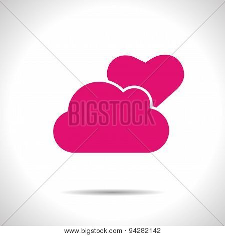 Vector weather icon. Pink partly cloudy. Eps10