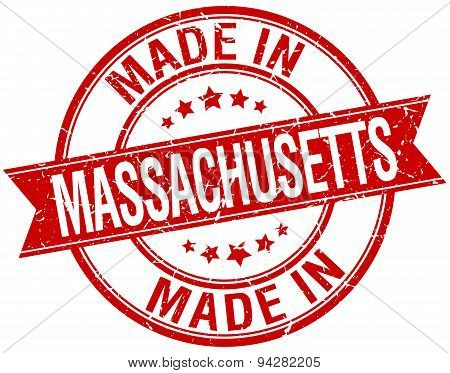 Made In Massachusetts Red Round Vintage Stamp