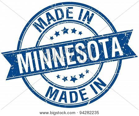 Made In Minnesota Blue Round Vintage Stamp