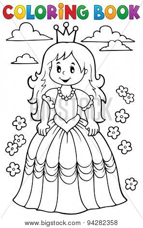 Coloring book princess theme 3 - eps10 vector illustration.