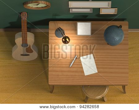 Table Chair Guitar Clock Empty Frame On The Wall Lamp On The Table A Pen And A Sheet Of Paper