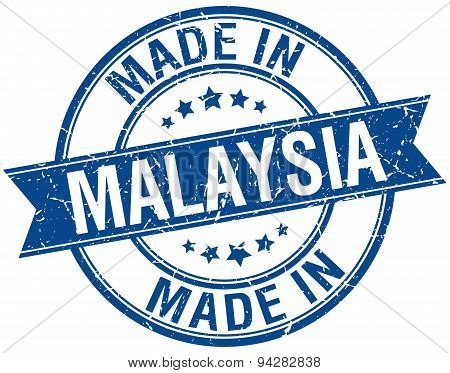 Made In Malaysia Blue Round Vintage Stamp