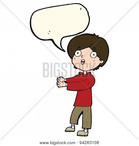 cartoon shocked boy with speech bubble