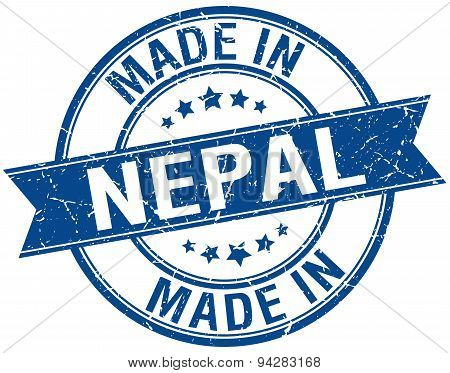 Made In Nepal Blue Round Vintage Stamp