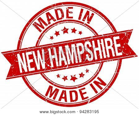 Made In New Hampshire Red Round Vintage Stamp