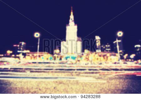 Blurred Retro Filtered City Lights At Night.
