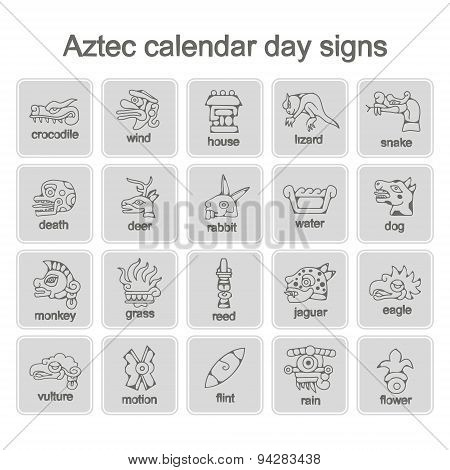set of monochrome icons with Aztec calendar Day signs