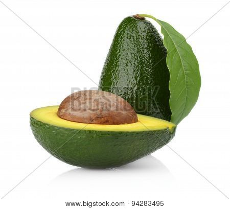 Studio Shot Of Avocado With Leaf And Pit Core Isolated