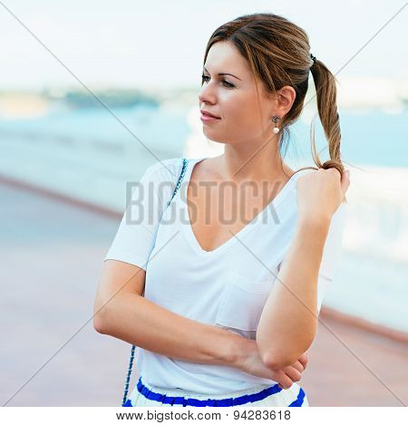 Beautiful Woman Wearing Fashionable Clothes