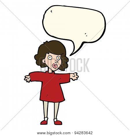 cartoon nervous woman with speech bubble