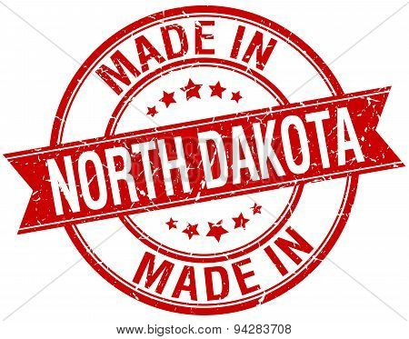 Made In North Dakota Red Round Vintage Stamp
