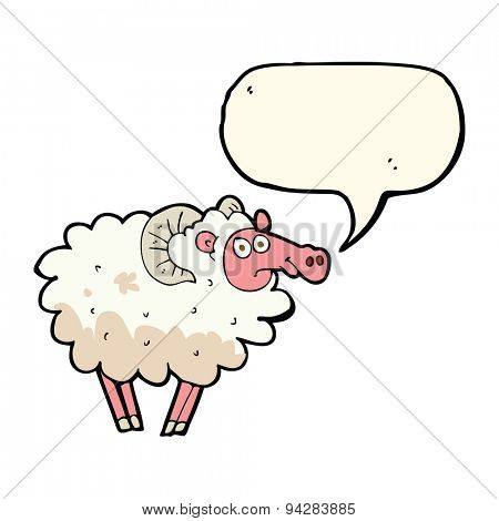cartoon dirty sheep with speech bubble