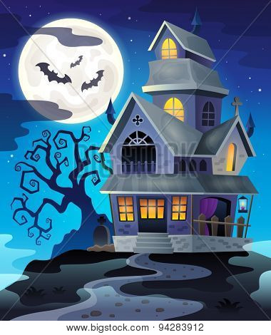 Image with haunted house thematics 3 - eps10 vector illustration.