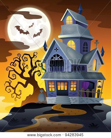 Image with haunted house thematics 2 - eps10 vector illustration.