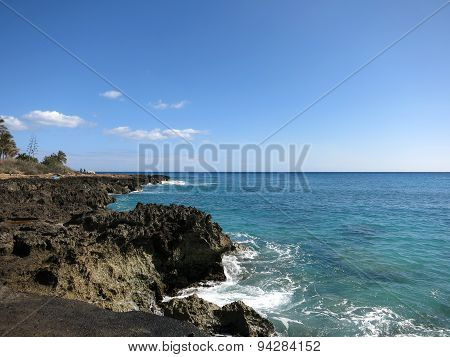 Rocky Shoreline On Waianae Coastline