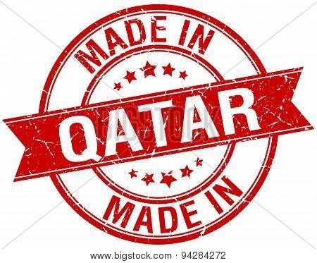 Made In Qatar Red Round Vintage Stamp