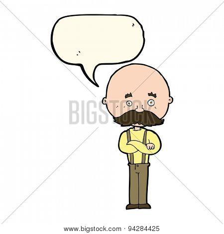 cartoon grandfather with speech bubble