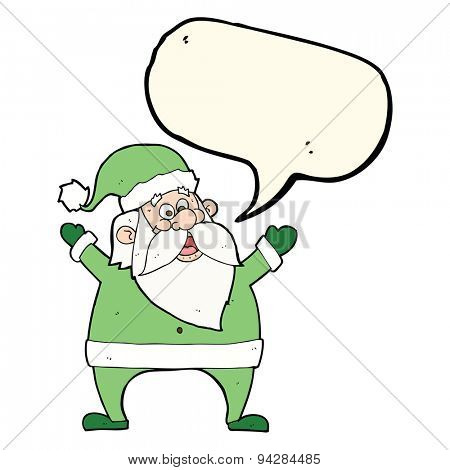 jolly santa cartoon with speech bubble