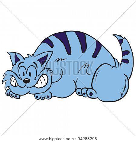 cartoon illustration of a blue crazy cat