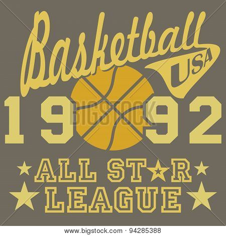 Basketball All Star League Artwork, Typography Poster, T-shirt Printing Design, Vector Badge Appliqu