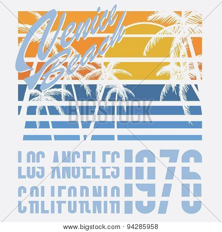 California Venive Beach Typography, T-shirt Printing Design, Summer Vector Badge Applique Label