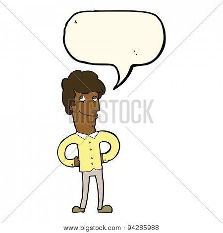 cartoon happy man with speech bubble