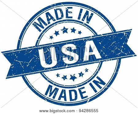 Made In Usa Blue Round Vintage Stamp
