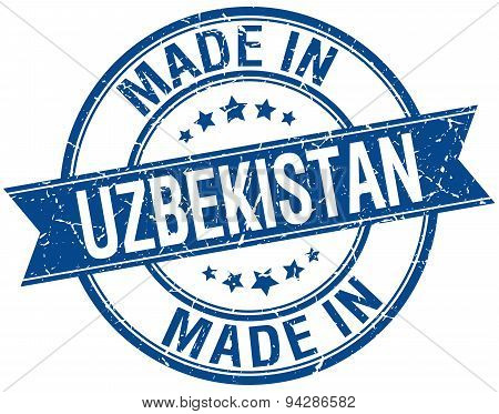 Made In Uzbekistan Blue Round Vintage Stamp