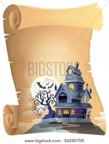Parchment with haunted house thematics 1 - eps10 vector illustration.