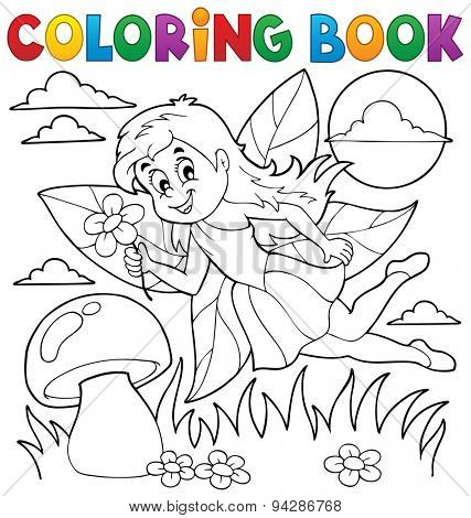Coloring book with fairy 1 - eps10 vector illustration.
