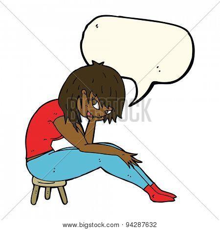 cartoon woman sitting on small stool with speech bubble