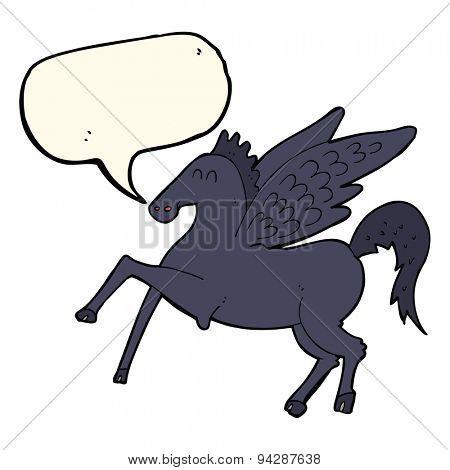 cartoon magic flying horse with speech bubble