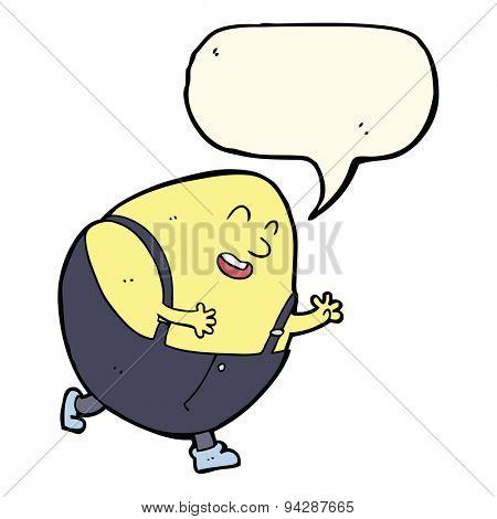 cartoon humpty dumpty egg character with speech bubble