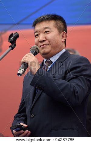 ST. PETERSBURG, RUSSIA - JUNE 20, 2015: General director of China XD Group Zhang Yalin during the presentation of the project of the Federal Test Center for electrical equipment as part of SPIEF 2015