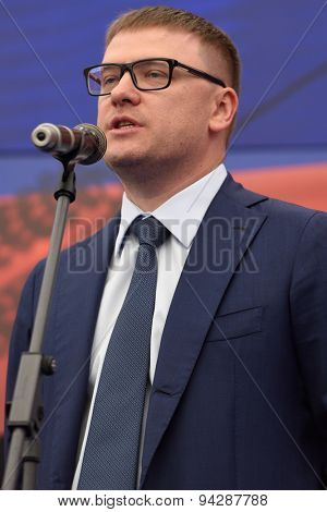 ST. PETERSBURG, RUSSIA - JUNE 20, 2015: Deputy Minister of enerty of Russia Alexey Teksler during the presentation of the project of the Federal Test Center for electrical equipment