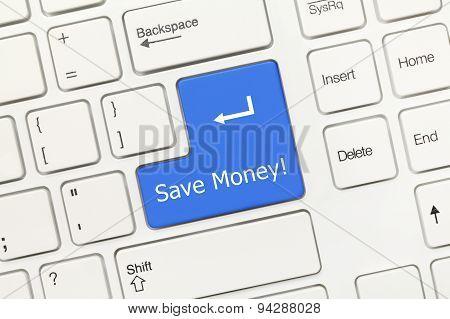 White Conceptual Keyboard - Save Money (blue Key)