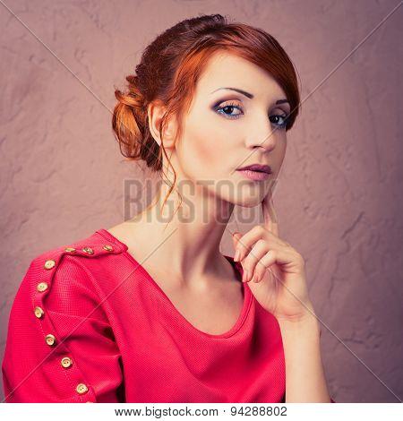 Woman Posing In Red Dress