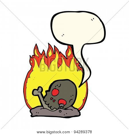 cartoon burning old bones with speech bubble