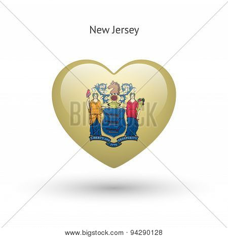 Love New Jersey state symbol. Heart flag icon.