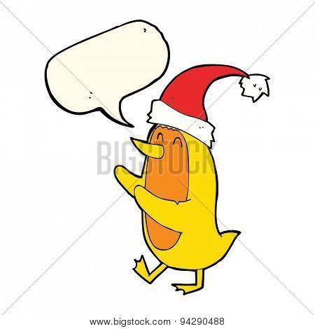 cartoon bird wearing xmas hat with speech bubble