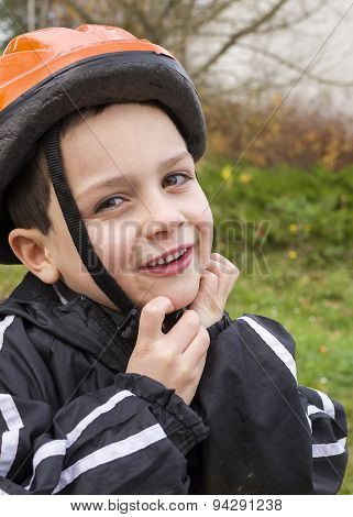 Child With Cycling Helmet
