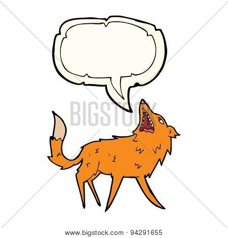 cartoon snapping fox with speech bubble