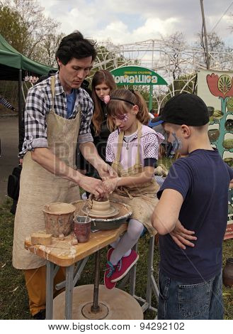 Children Study The Modelling On The Art Master-class At Outdoor Handmade Festival In Kiev, Ukraine
