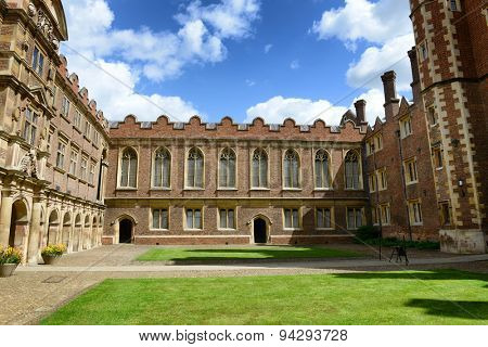 CAMBRIDGE, ENGLAND - MAY 13: Architectural Exterior of Third Court and Old Library on Sunny Day with Blue Sky, St Johns College, University of Cambridge, England on May 13, 2015