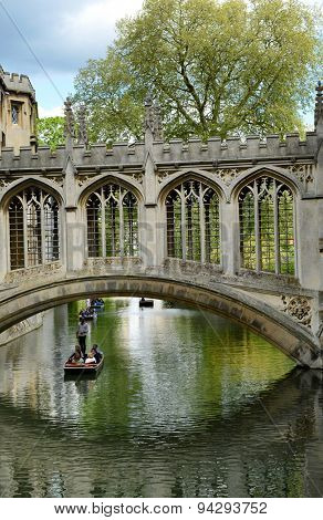 CAMBRIDGE, ENGLAND - MAY 13: Bridge of Sighs, St Johns College, Cambridge with its elegant design arching over the Cam River to allow passage between the two Courts of the college on May 13, 2015