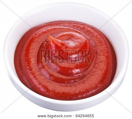 Tomato ketchup in the small bowl. File contains clipping paths.